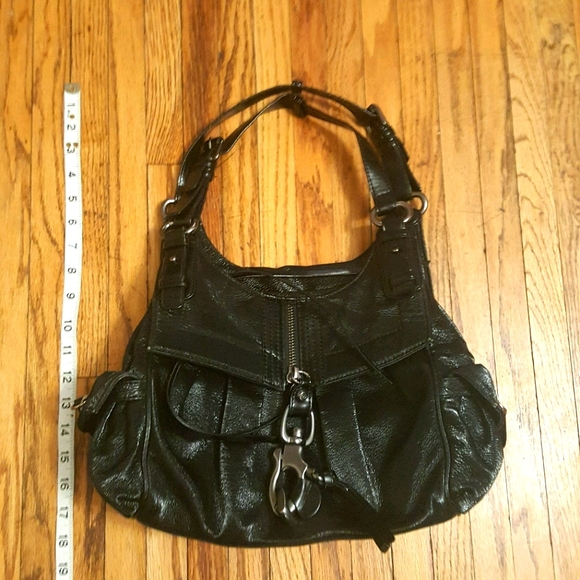 FRANCESCO Biasia black patent leather luxury purse